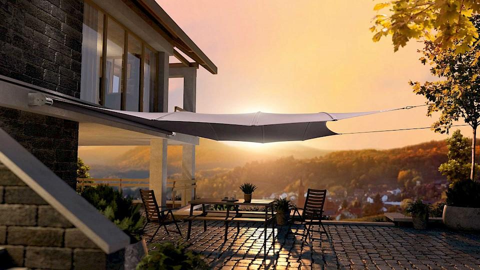 sonnensegel sonnen k nig. Black Bedroom Furniture Sets. Home Design Ideas